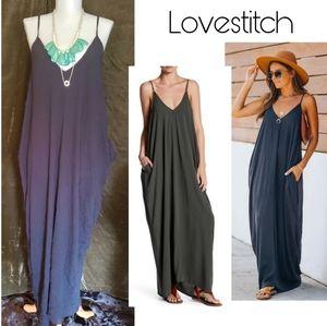 Lovestitch black maxi dress w/ pockets.  Sz Sm/Med
